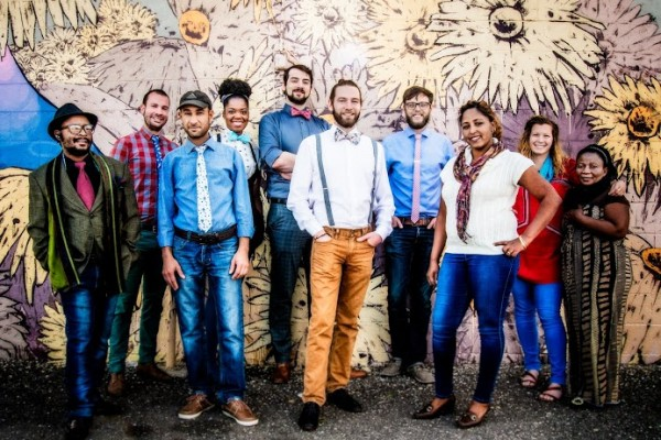 Jeremy Priest (front and center) and Mark Johnson (back and center) created Knotty Tie in January of 2013. The organization is currently housed at ULC's property in the Santa Fe Arts District.
