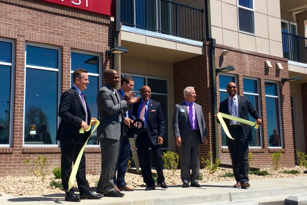 Mayor Hancock joined in the ribbon cutting ceremony for Park Hill Station Apartments, which opened in 2016. The transit oriented development boasts 156 units of affordable housing, and is located adjacent to the 40th and Colorado commuter rail. Photo credit: Alana Romans