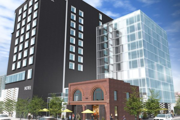 The Hilton Garden Inn at Union Station will include 233 rooms, and incorporate the Historic Denver Hose House (brick building in image above).