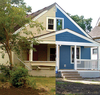 The before and after of a home in Minneapolis. Many homes weathered the economic collapse in 2008 due to the success of CLTs. | Photo courtesy, Federal Reserve Bank of Minneapolis.