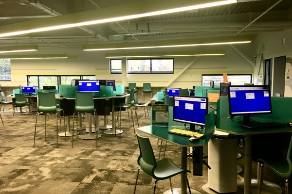 The second floor hosts a computer lab which provides internet and other computer related services to library members.
