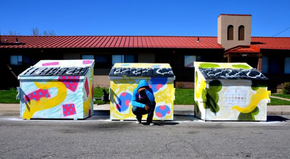 Birdseed Collective painted over 50 dumpsters in the Sun Valley neighborhood. | Photo courtesy, Westword,