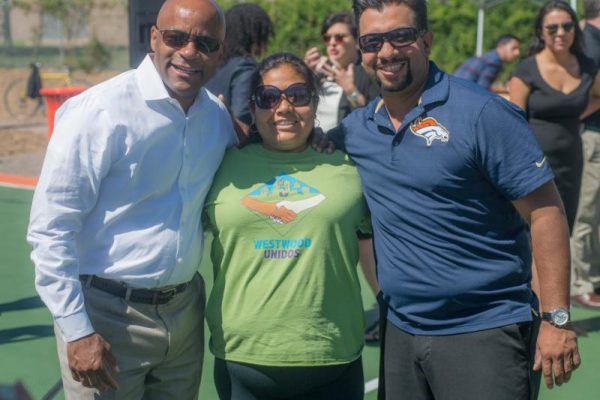 Mayor Michael B. Hancock, Norma Brambila of Westwood Unidos and Councilman Paul D. López   at the grand opening ceremony ofthe Thriftway Pocket Park.  | Photo courtesy, Denver OED