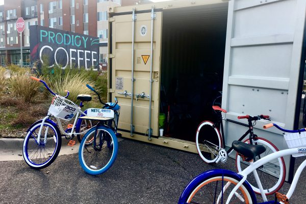 The bike library, which can comfortably hold about 20 bikes, is a shipping container that sits on the back lot of Prodigy Coffeehouse.