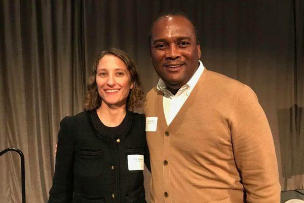 Prosper Portland's Kimberly Schneider Branam (left) and ULC's Tony Pickett (right) at the 2017 Oregon Environmental Council's Business & the Environment Speaker Series.