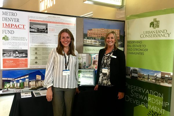 Alana Romans (left) and Christi Smith (right) of Urban Land Conservancy presented the Metro Denver Impact Fund during CO Impact Days' social venture marketplace.