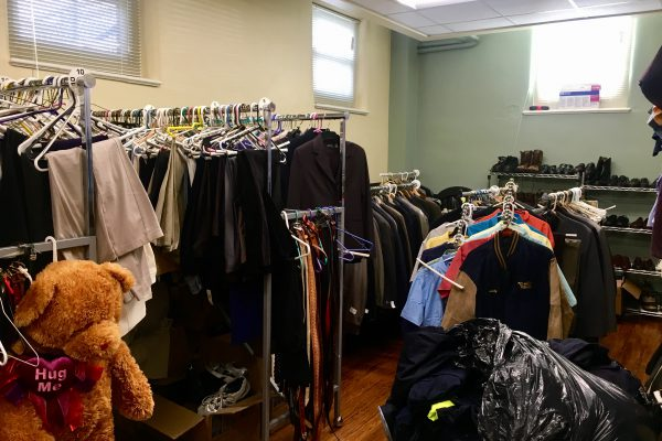 The clothing closet at Denver Works' new space at the Curtis Park Nonprofit Center.