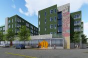 A rendering of Walnut Street Lofts - 65 units of permanently affordable housing adjacent to the 38th and Blake commuter rail station.