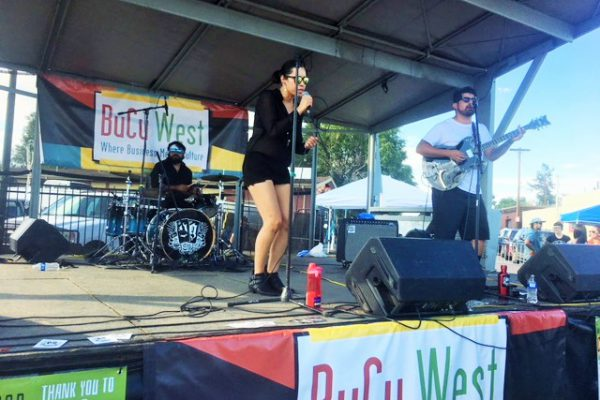 A local performer at the Westwood Chile Fest.