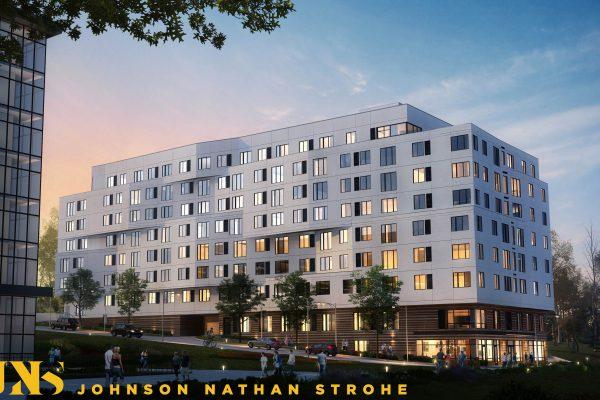 A rendering of the future Sheridan Station Apartments, 133 units of permanently affordable housing adjacent to the Sheridan light rail station. Photo Courtesy | Johnson Nathan Strohe