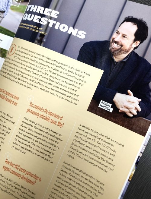 ULC's President & CEO, Aaron Miripol, in The Denver Foundation's Summer 2019 Give Magazine.