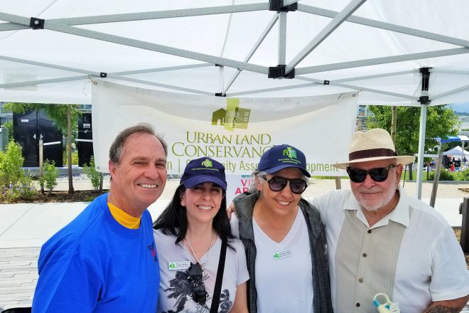 From left: Congressman Ed Perlmutter, ULC's Senior Vice President of Real Estate (Debra Bustos) and Managers of Neighborhood Relations, Carmen Atilano and Michael Miera.